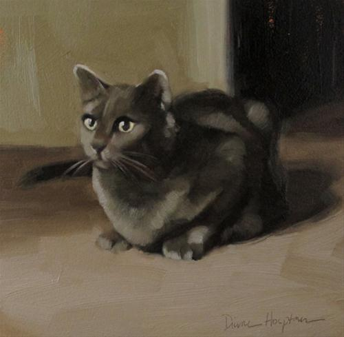 """Gray Cat small original oil painting"" original fine art by Diane Hoeptner"