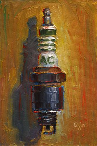 """Fouled AC Delco Spark Plug"" original fine art by Raymond Logan"