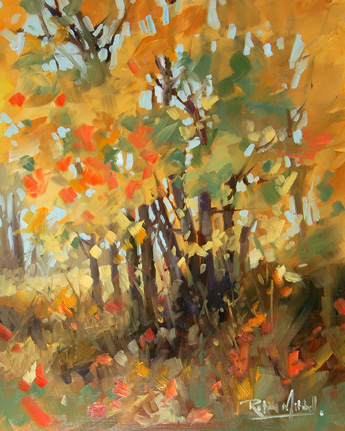 """No 318 Golden Trees"" original fine art by Robin J Mitchell"