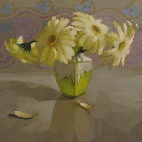 """Daisies on Gray painting"" original fine art by Diane Hoeptner"