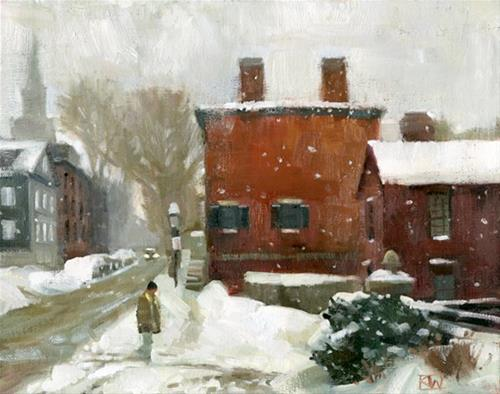 """Snow on Benefit St."" original fine art by Kathy Weber"