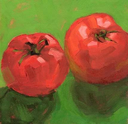 """Two tomatoes"" original fine art by Bobbi Heath"
