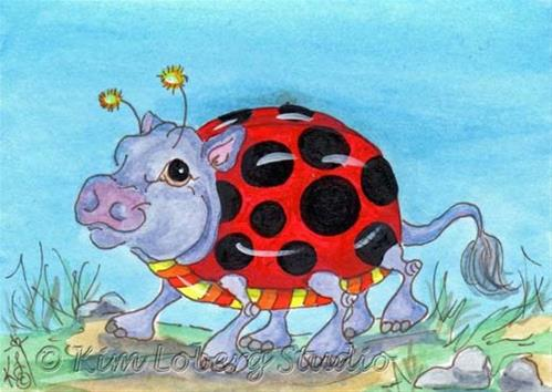"""Walk About Lady Bug Hippo"" original fine art by Kim Loberg"