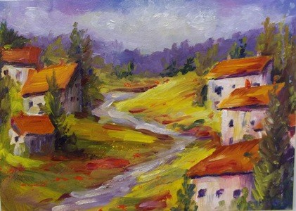 """Tuscany Hills"" original fine art by Alice Harpel"