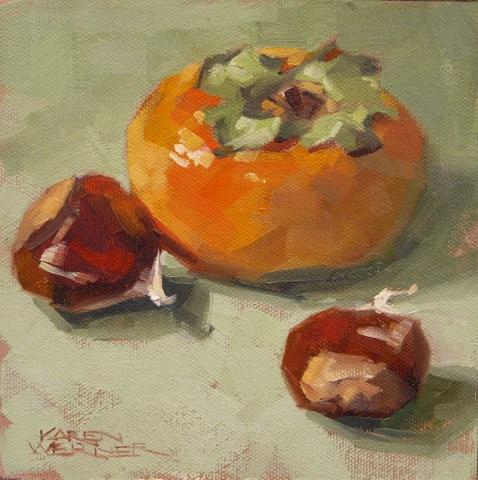 """""""Persimmon With Chestnuts"""" original fine art by Karen Werner"""