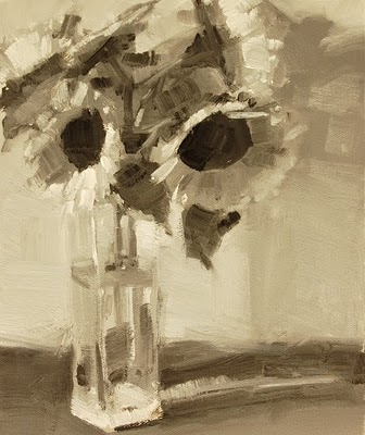"""Sunflowers In Water Value Study"" original fine art by Laurel Daniel"