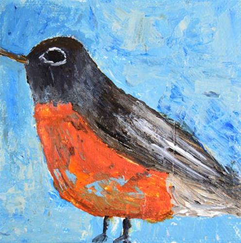 """Robin bird No 52"" original fine art by Katie Jeanne Wood"