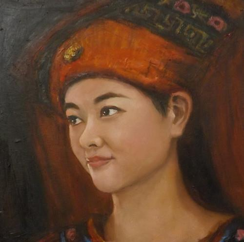 """The Lady with Red Hat,m31"" original fine art by Run-      Zhang Zane"