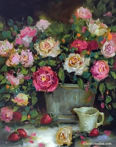 """Rainwater Roses"" original fine art by Nancy Medina"