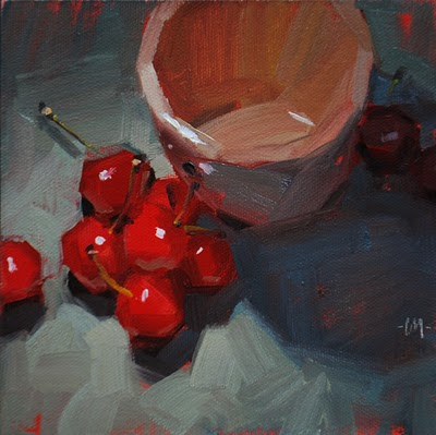 """Cherry Chums"" original fine art by Carol Marine"