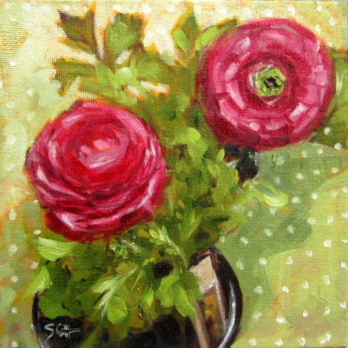 """Hot pink ranunculus"" original fine art by Sandy Haynes"