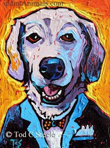 """Lab Painting, Dog Painting, 'Sir Newton Butzniff' - 8x6 - by Tod C Steele"" original fine art by Tod Steele"