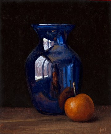 """Still Life with Blue Vase and Asian Pear (First Snow of 2016)"" original fine art by Abbey Ryan"