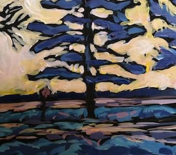 """Calhoun Snowy Pine"" original fine art by Kat Corrigan"