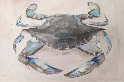 """Big Blue Crab"" original fine art by Clair Hartmann"