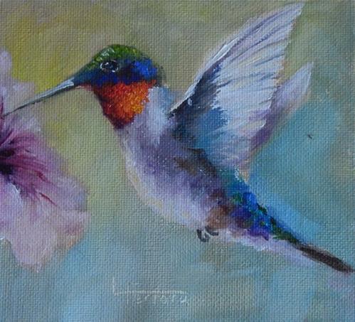 """Hummingbird w/ Petunia"" original fine art by Lina Ferrara"