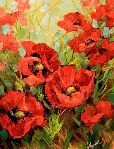 """Unfurled - Red Poppies by Texas Flower Artist Nancy Medina"" original fine art by Nancy Medina"
