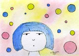 """Whistling Blue Haired Girl"" original fine art by Kali Parsons"