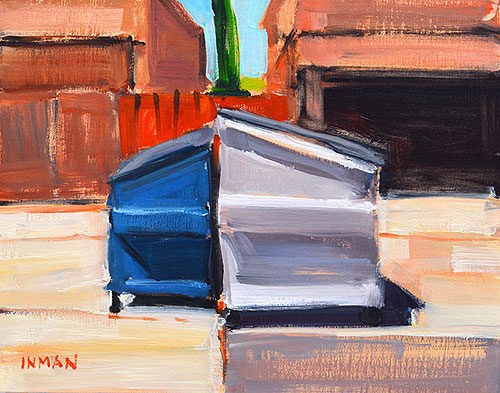 """Pair of Dumpsters"" original fine art by Kevin Inman"