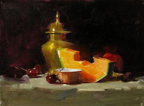 """Cantaloupe and Cherries --- Sold"" original fine art by Qiang Huang"