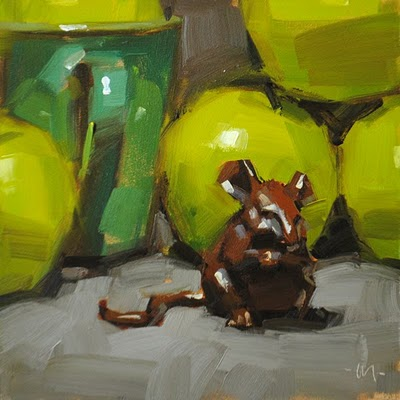 """Munching Apples"" original fine art by Carol Marine"