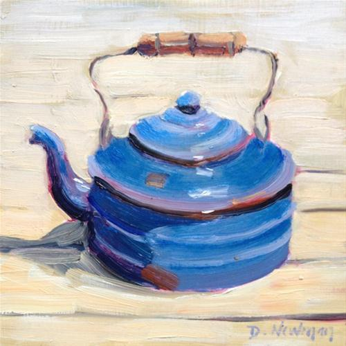 """Old Blue Kettle"" original fine art by Deborah Newman"