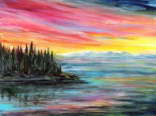 """""""3162 - Matted - Luminous Sunset - Windpower"""" original fine art by Sea Dean"""