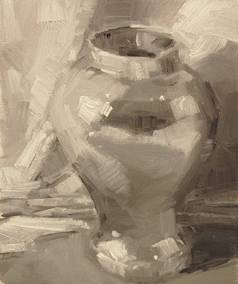 """Brass Urn Value Study"" original fine art by Laurel Daniel"