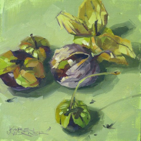 """Tomatillos Cinco"" original fine art by Karen Werner"