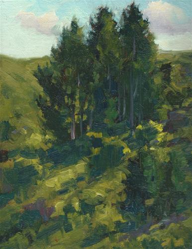 """Hillside pines"" original fine art by J. Thomas soltesz"