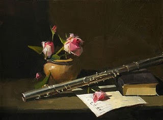 """""""Flute and Roses --- Sold"""" original fine art by Qiang Huang"""