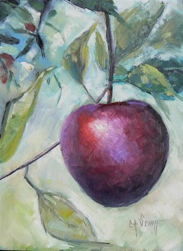 """Daily Painting on Sale, Small Oil Painting, Daily Painter, Apple on the Tree, Carol Schiff artist,"" original fine art by Carol Schiff"