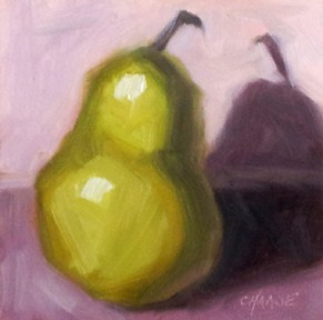 """Pear Up"" original fine art by Cindy Haase"