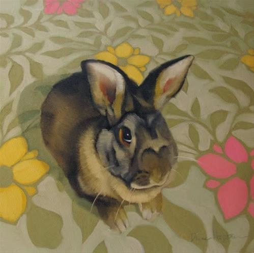 """Reluctant Gift a rabbit painting"" original fine art by Diane Hoeptner"