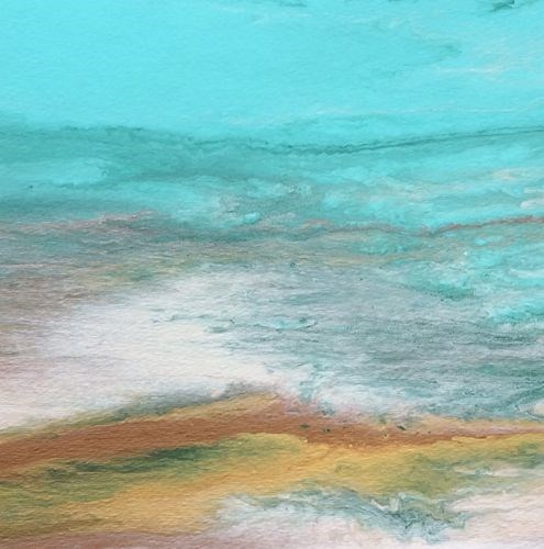 """Contemporary Abstract Seascape ,Beach Art Painting Tropical Dreams Study #5 by Colorado Contempora"" original fine art by Kimberly Conrad"