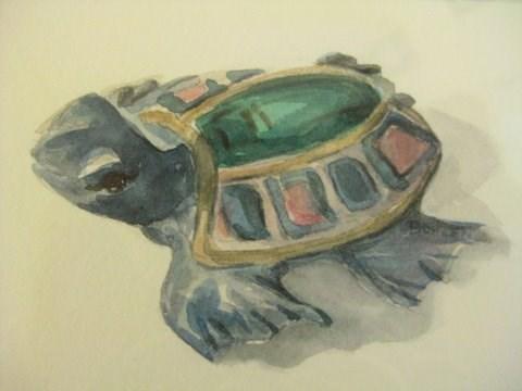 """""""Sea Turtle"""" original fine art by Priscilla Bohlen"""