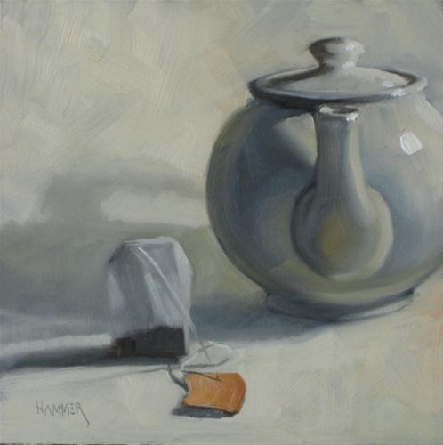 """Ready for hot water 6x6 oil"" original fine art by Claudia Hammer"