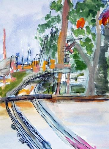 """Across The Tracks"" original fine art by Donna Crosby"