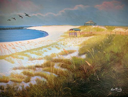 """Beach and Jetty"" original fine art by Alan Mintz"