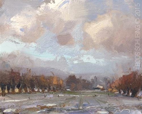 """Field, Willows and Snow"" original fine art by Roos Schuring"