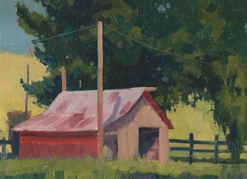 """The red shed"" original fine art by J. Thomas soltesz"