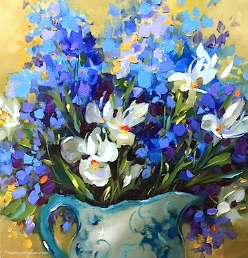 """Garden Party Iris Bouquet and Shopping Without Adult Supervision - Flower Paintings by Nancy Medina"" original fine art by Nancy Medina"