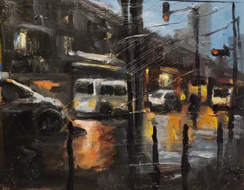 """Cityscape,A12"" original fine art by Run-      Zhang Zane"