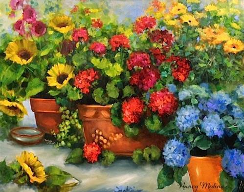 """Sunny Days Container Garden and a Missouri Workshop by Nancy Medina"" original fine art by Nancy Medina"