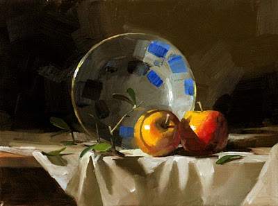 """Two Apples"" original fine art by Qiang Huang"
