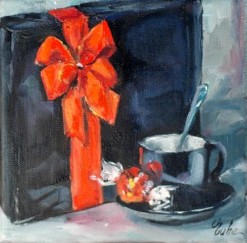 """Café cadeau"" original fine art by Evelyne Heimburger Evhe"