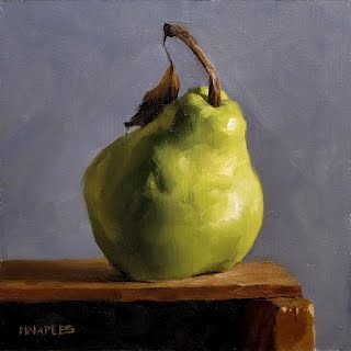 """Pear on Shelf No.3"" original fine art by Michael Naples"