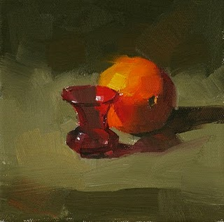 """Small Red Vase --- Sold"" original fine art by Qiang Huang"