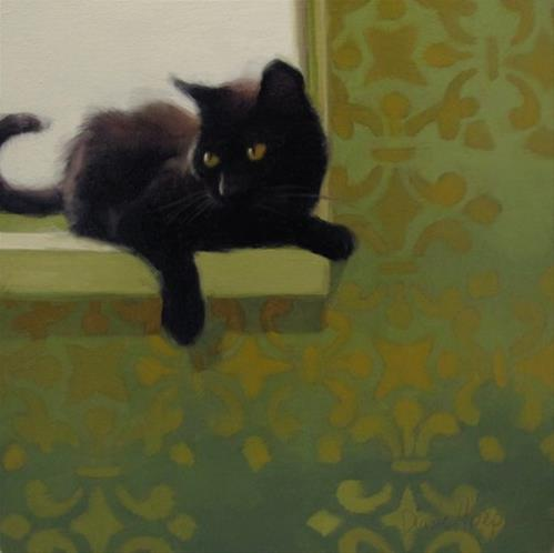 """Trying for perfection with Back Lit Black Cat"" original fine art by Diane Hoeptner"