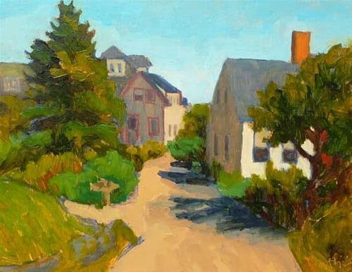 """Downtown Monhegan"" original fine art by Bobbi Heath"